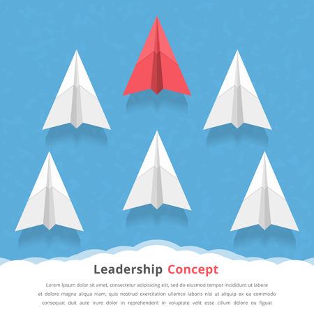Red Papierflugzeug als Marktführer unter den weißen Flugzeugen, Führung, Teamarbeit, Motivation, stehen aus der Menge Konzept