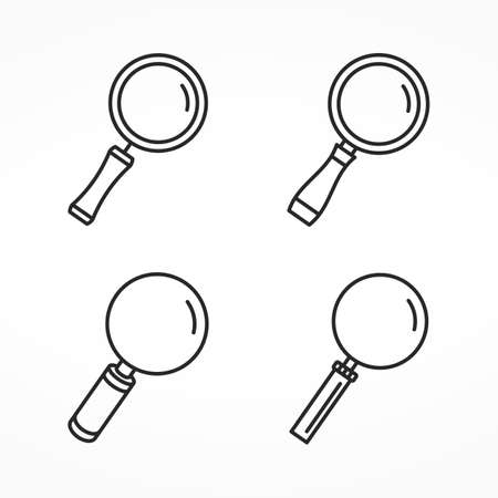 Set of four different line icons of magnifying glass, minimal line icons, zoom icons Illustration