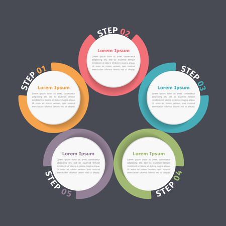 five elements: Circle diagram with five elements, steps or options, flowchart or workflow diagram template