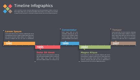 Timeline modello di infografica, diagramma di flusso, flusso di lavoro o di processo infografica