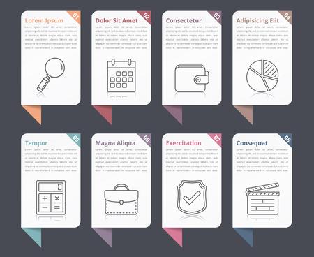 Conjunto de elementos de Infografía con los números, los iconos de línea y el lugar de su texto, se puede utilizar como flujos de trabajo, procesos, etapas u opciones