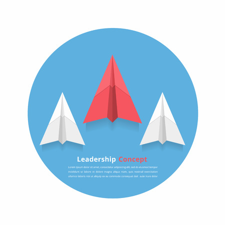stand out: Red paper airplane as a leader among white airplanes, leadership, teamwork, motivation, stand out of the crowd concept