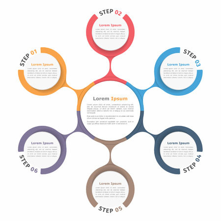 six: Circle diagram with six elements, steps or options, flowchart or workflow diagram template