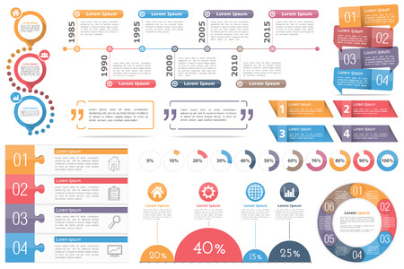 Infographic elements - circle diagram, timeline, progress indicators, diagram with percents, design templates with numbers (steps or options) and text, quote frames or text boxes Illustration
