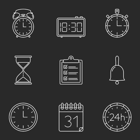 agenda: Agenda, calendar, clock and time line icons