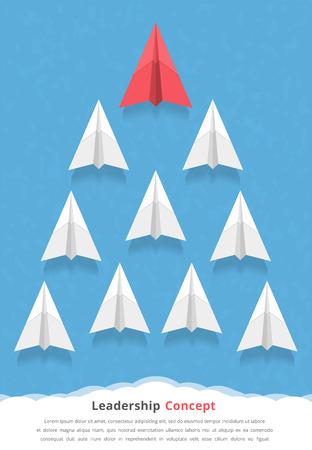 avión de papel rojo como un líder entre los aviones blancos, el liderazgo, el trabajo en equipo, motivación, se destacan de la multitud concepto Ilustración de vector