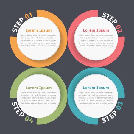 cuatro elementos: Diagrama del círculo con cuatro elementos, etapas u opciones, diagrama de flujo o diagrama de flujo de trabajo de la plantilla
