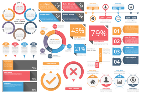 flow diagram: Infographic objects for presentation, reports, workflow - circle diagram, bar graph, pie chart, process diagram, timeline, objects with percents and text, business infographic elements Illustration