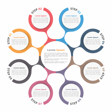 Circle diagram with eight elements, steps or options, flowchart or workflow diagram template