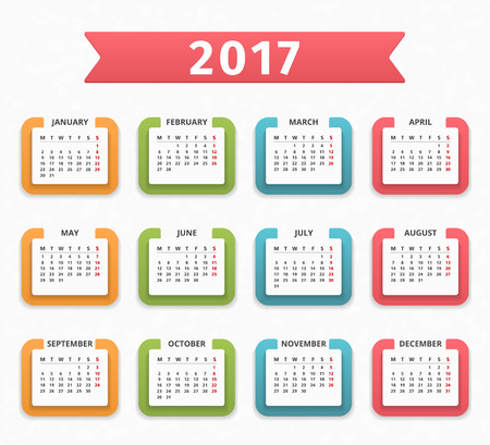 agenda year planner: 2017 Calendar, week starts on Monday Illustration