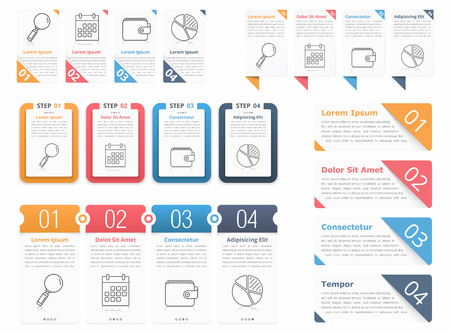 Set of different infographic elements with numbers, line icons and place for your text, can be used as workflow, process, steps or options