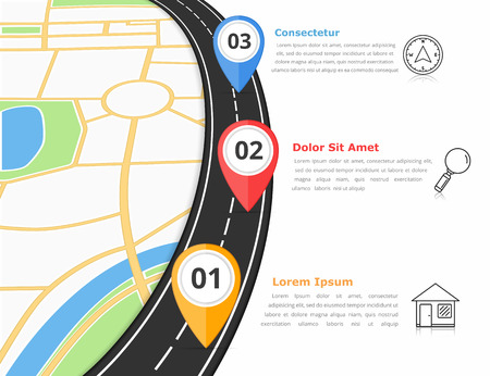 Road infographics template with three map markers and place for your text