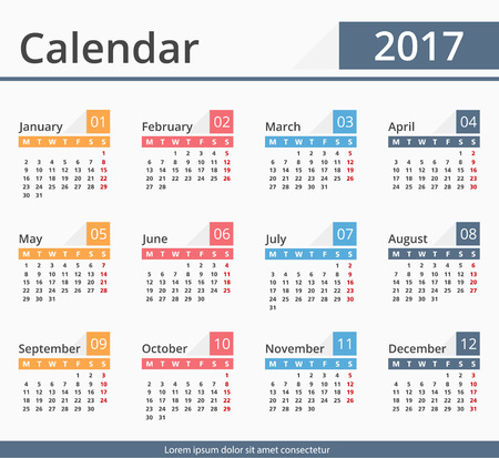 calender: 2017 Calendar, week starts on Monday Illustration