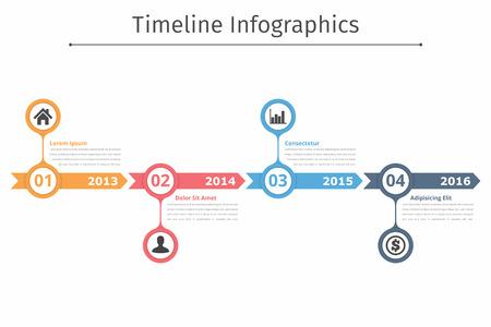矢印、フローチャート、ワークフロー プロセスまたはプロセスのインフォ グラフィックを持つタイムライン インフォ グラフィック テンプレート