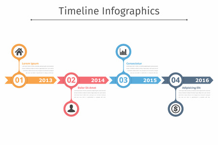 Timeline infographics template met pijlen, flowchart, workflow of proces infographics