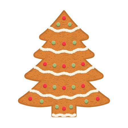 christmas cookie: Gingerbread Christmas tree, traditional Christmas cookie Illustration