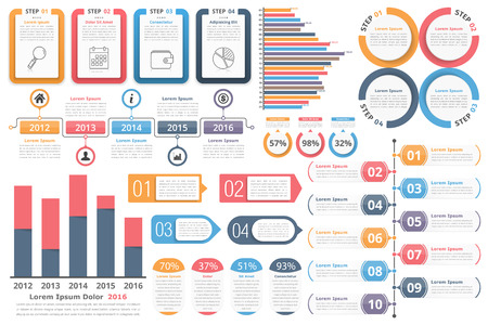 Infographic elements - objects with numbers and text, bar graphs, circle diagram, timeline, objects with percents and text, process diagram