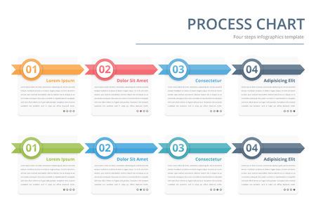 Procesgrafiek, flow chart sjabloon, infographics ontwerpelementen met cijfers en tekst, business infographics, workflow, stappen, opties