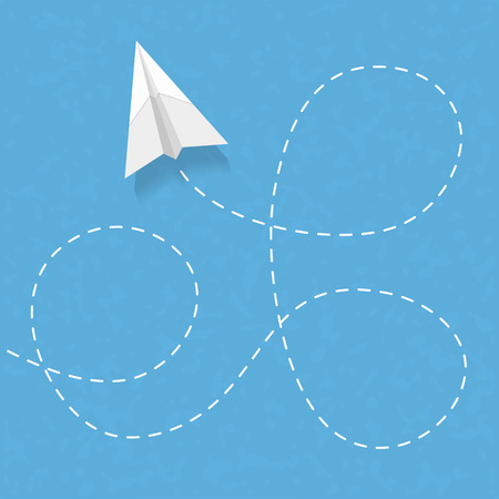flying paper: Flying paper airplane with dashed line Illustration