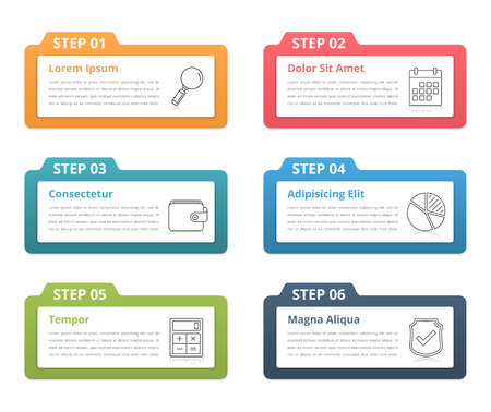 six web website: Set of infographic elements with numbers, line icons and place for your text, can be used as workflow, process, steps or options