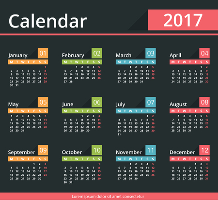 agenda year planner: 2017 Calendar, dark background, week starts on Monday