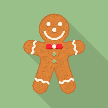 christmas cookie: Gingerbread man, traditional Christmas cookie, flat design with long shadow