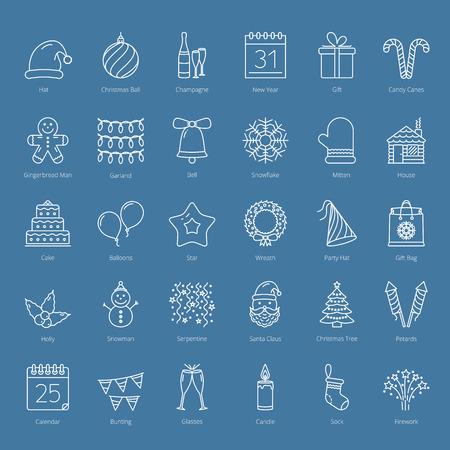 30 icone della linea di Natale