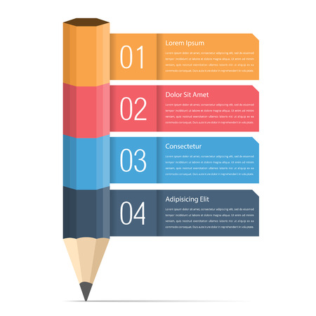 the four elements: Infographic template with pencil and four elements for text, education infographics Illustration