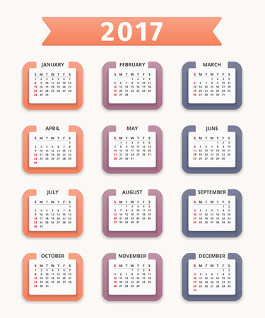 calender: 2017 Calendar, week starts on Sunday