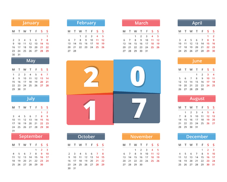 organiser: 2017 Calendar in colored squares, week starts on Monday