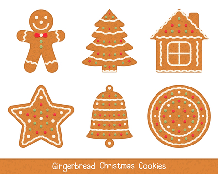 Set of gingerbread Christmas cookies - man, tree, house, star, bell and circle Illustration