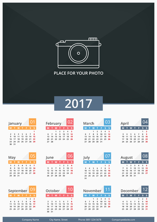 a3: 2017 Wall calendar, week starts on Monday, A3 size, place for your photo