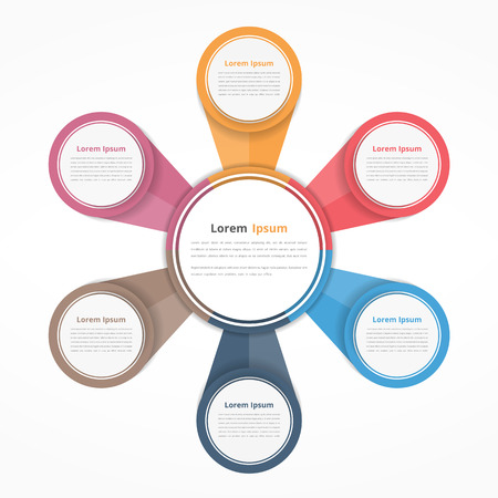 workflow: Circle diagram with six elements, steps or options, flowchart or workflow diagram template