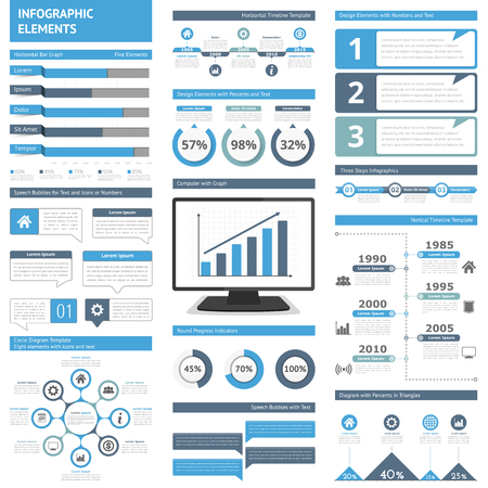 Infographic elements for presentations and reports - timelines, graphs, charts, diagrams, flowchart, workflow, steps, options, percents, speech bubbles, statistics Vector Illustration