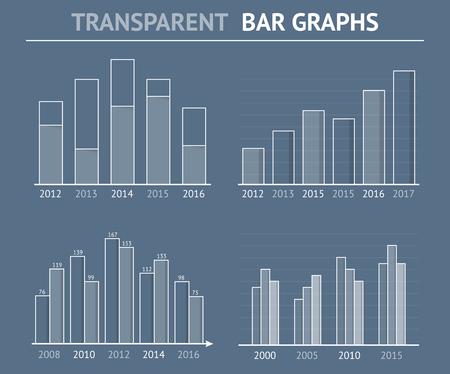 Transparent Balkendiagramme für die Statistik oder Datenvisualisierung können in Berichten oder Präsentationen verwendet werden