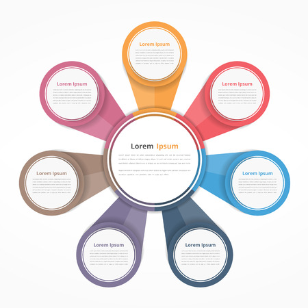 infochart: Circle diagram with seven elements, steps or options, flowchart or workflow diagram template
