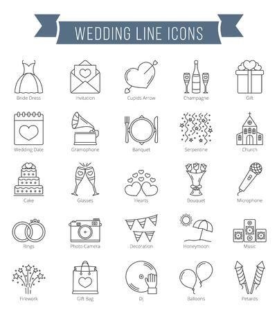 fila de personas: 25 iconos de la línea de la boda, se pueden utilizar para el día de San Valentín