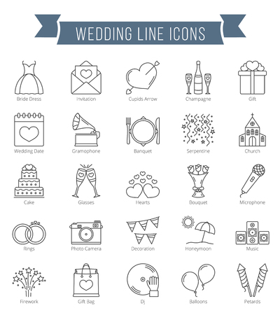 25 Wedding line icons, can be used for Valentine's day Иллюстрация