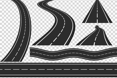 新しいアスファルト道路、垂直方向と水平方向の道路、高速道路のセット  イラスト・ベクター素材