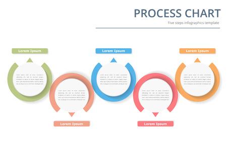 Modello di diagramma di processo con cerchi, diagramma di flusso o flusso di lavoro con cinque elementi, gradini o opzioni, infografica aziendali Archivio Fotografico - 65044385