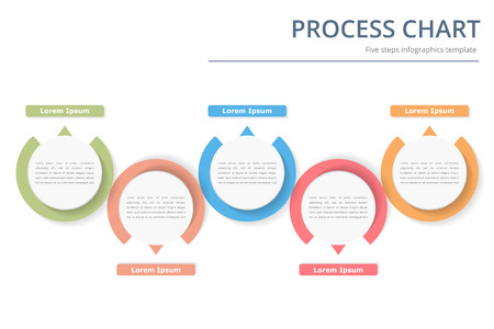 Process diagram template with circles, flowchart or workflow with five elements, steps or options, business infographics