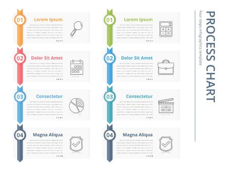 diagramme de processus vertical, écoulement modèle de graphique, des éléments de conception des infographies avec des chiffres et des textes, des infographies d'affaires, flux de travail, les étapes, les options Vecteurs