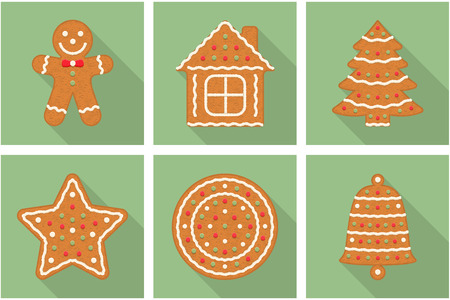 Set of gingerbread Christmas cookies with long shadows - man, tree, house, star, bell and circle Illustration