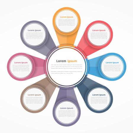 Diagram Cirkel met acht elementen, stappen of opties, flowchart of workflow diagram template Stockfoto - 65044396