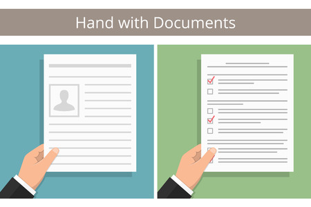hand holding paper: Hand holding white paper with text - document, contract, agreement, newspaper, etc, and hand with test or survey Illustration
