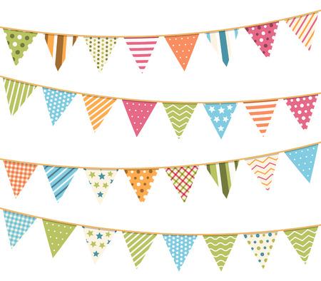 Diferentes estampado de colores para la decoración de invitaciones, tarjetas de felicitación, etc, banderas bunting Ilustración de vector