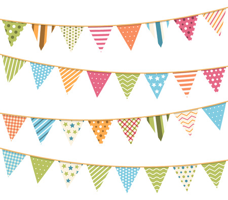 garlands: Different colorful bunting for decoration of invitations, greeting cards etc, bunting flags