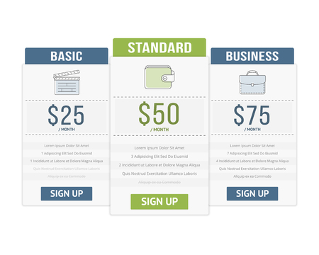 Pricing table template with three plans for websites