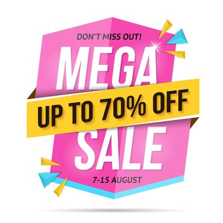 Modern mega sale banner, dont miss out, 70% off