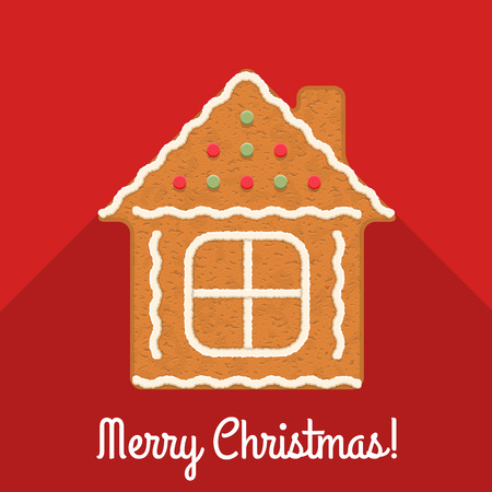Gingerbread house on red background with Merry Christmas congratulation